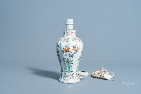 A lobed Chinese famille verte vase with floral design mounted as a lamp, Kangxi