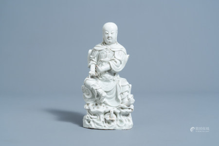 A Chinese blanc de Chine figure of Chen Wu, the Dark Emperor, Lord of the Night Sky, Kangxi/Qianlong