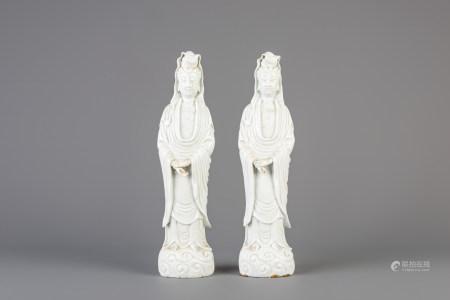 Two Chinese blanc de Chine Dehua figures of Guanyin, 18th/19th C.