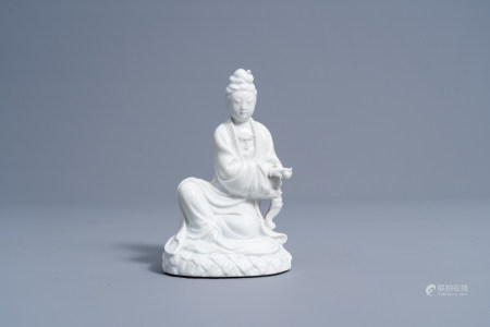 A Chinese blanc de Chine figure of Guanyin, 20th C.