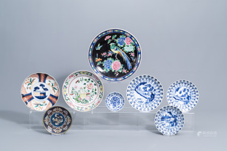 A varied collection of Chinese and Japanese blue, white, famille rose and Imari porcelain and a cloisonne saucer dish, Kangxi and later