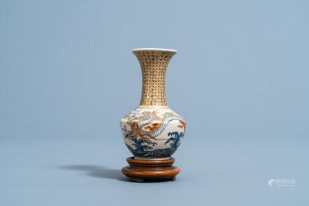 A Japanese Satsuma 'dragons' vase, Edo/Meiji, 19th C.