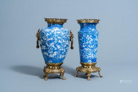 Two Japanese blue and white gilt brass mounted Arita vases, Meiji/Taisho, 20th C.