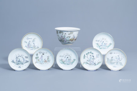 Seven Chinese qianjiang cai saucer plates and a jardiniere with figures in a flower garden, 19th/20th C.