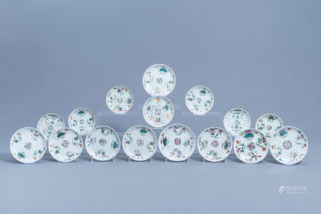 Sixteen Chinese famille rose saucer dishes and saucers with floral design, 19th/20th C.