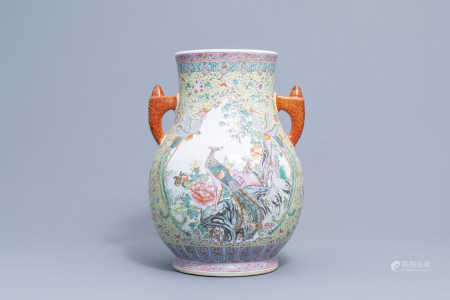 A Chinese famille rose 'hu' vase with cranes and phoenixes, Qianlong mark, Republic, 20th C.
