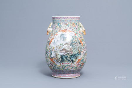 A Chinese famille rose 'millefleurs hu' vase with an animated landscape, Qianlong mark, Republic, 20th C.
