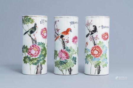 Three Chinese qianjiang cai hat stands with a bird on a blossoming branch, 19th/20th C.