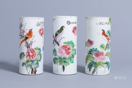 Three Chinese qianjiang cai hat stands with birds on blossoming branches, 19th/20th C.