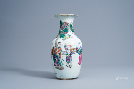 A Chinese famille rose 'Immortals' vase, 19th C.