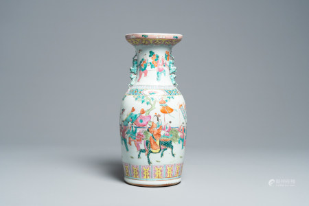 A Chinese famille rose vase with figures on a terrace all around, 19th C.
