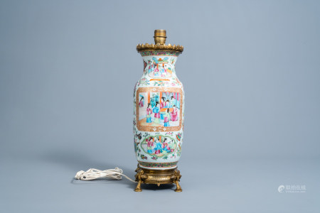 594A Chinese Canton famille rose vase mounted as a lamp, 19th C.