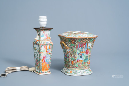 A Chinese Canton famille rose flower holder and a vase mounted as a lamp, 19th C.