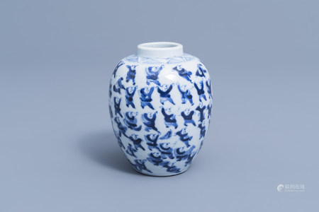 A Chinese blue and white '100 boys' vase, Kangxi mark, 19th C.