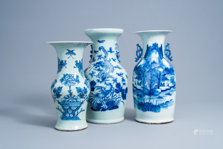 Three various Chinese blue and white celadon ground vases, 19th C.