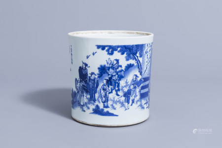 A large Chinese blue and white brush pot with figures and Immortals in a landscape, 19th/20th C.