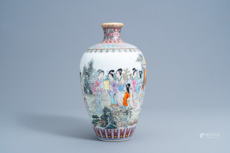 A Chinese famille rose meiping vase with ladies on a terrace, Qianlong mark, 20th C.