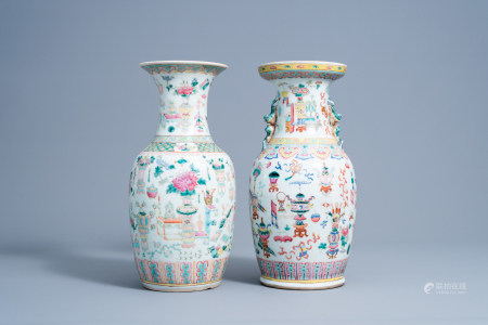 Two Chinese famille rose vases with antiquities design, 19th C.