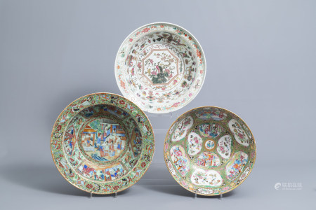 Two Chinese Canton famille rose bowls and a bowl with antiquities, 19th C.