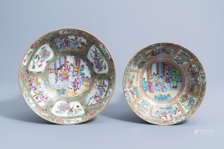 Two Chinese Canton famille rose bowls, 19th C.