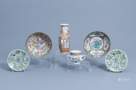A varied collection of Chinese Canton famille rose porcelain, 19th C.