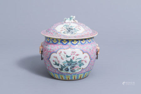 A Chinese famille rose and rose ground bowl and cover with floral design, 19th C.