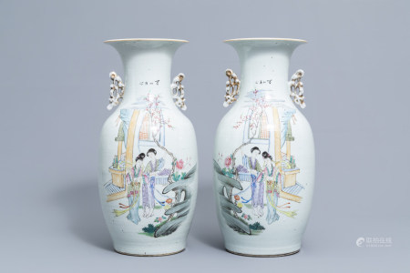 A pair of Chinese famille rose vases with ladies in a palace garden, 19th/20th C.