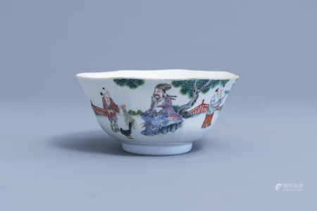 An octagonal Chinese famille rose bowl with figures in a landscape, Guangxu mark and of the period