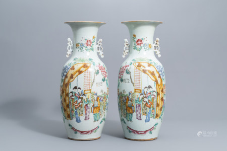 A pair of Chinese famille rose vases with figures on a terrace, 19th/20th C.