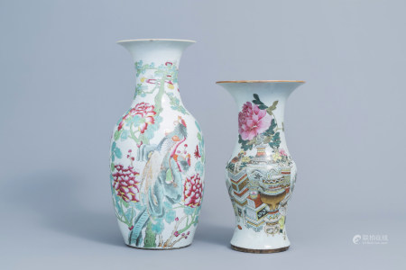 A Chinese qianjiang cai yenyen vase with antiquities design and a famille rose vase with a phoenix among blossoming branches, 19th/20th C.