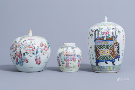 Three Chinese famille rose jars and covers with figurative designs and flower baskets, 19th/20th C.