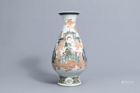 A Chinese famille verte 'yuhuchunping Buddha' vase, Kangxi mark, ca. 1900