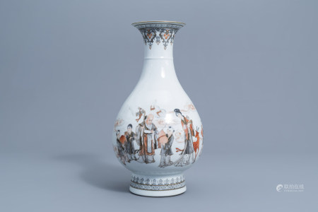 A Chinese grisaille, gilt and iron red 'Immortals' vase, Qianlong mark, 20th C.