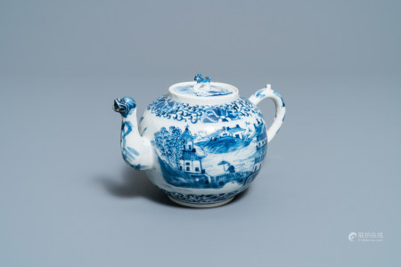 A Chinese blue and white teapot and cover with figures in a landscape, 19th C.