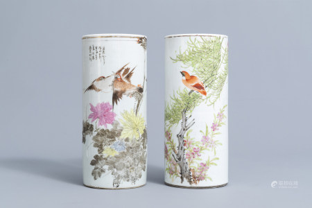 Two Chinese qianjiang cai hat stands with birds among blossoming branches, 19th/20th C.
