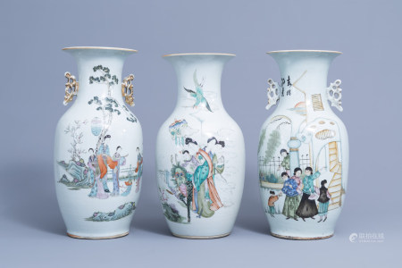 Three various Chinese famille rose vases, 19th/20th C.