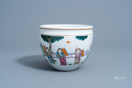 A Chinese famille rose jardiniere with figurative design all around, Tongzhi mark and of the period