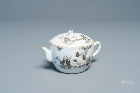 A Chinese iron red, grisaille and gilt teapot and cover with figures in a landscape, 19th C.