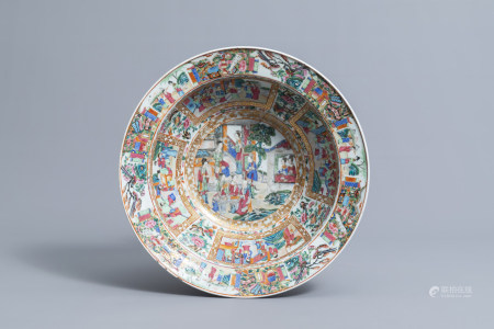 A large Chinese Canton famille rose bowl with figures on a terrace, 19th C.