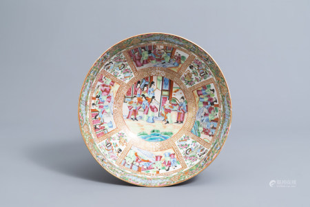 A Chinese Canton famille rose bowl with floral and figurative design, 19th C.