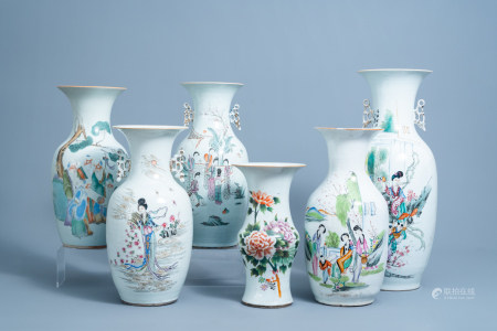 Six various Chinese famille rose and qianjiang cai vases, 19th/20th C.