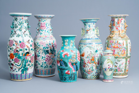 Six various Chinese famille rose vases, 19th/20th C.