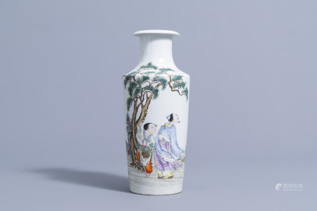 A Chinese famille rose vase with figures in a landscape, Juren Tang Zhi mark, 20th C.