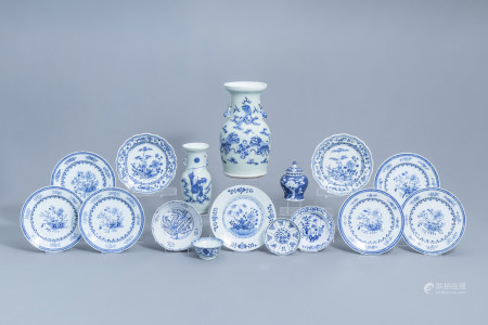 A varied collection of Chinese blue and white porcelain, 18th C. and later
