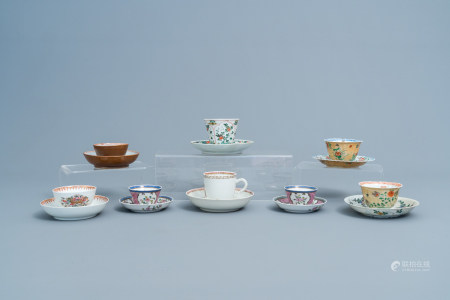 Eight various Chinese famille rose and famille verte cups and eight saucers, Kangxi and later