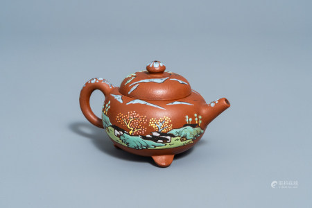 A Chinese Yixing enamel teapot with a landscape all around, ca. 1900