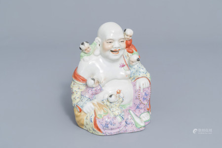 A Chinese famille rose figure of Buddha with children, 20th C.