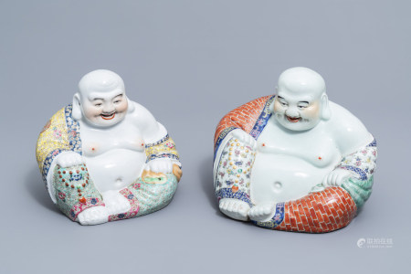 Two Chinese famille rose figures of Buddha, 20th C.