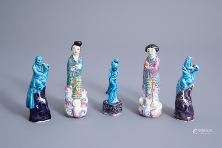 Five Chinese turquoise and aubergine glazed famille rose porcelain figures, 19th/20th C.