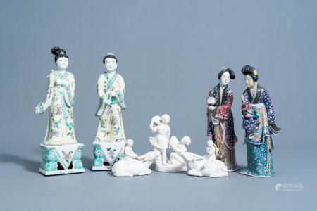 Seven Chinese famille rose, verte and blanc de Chine porcelain figures and groups, 20th C.